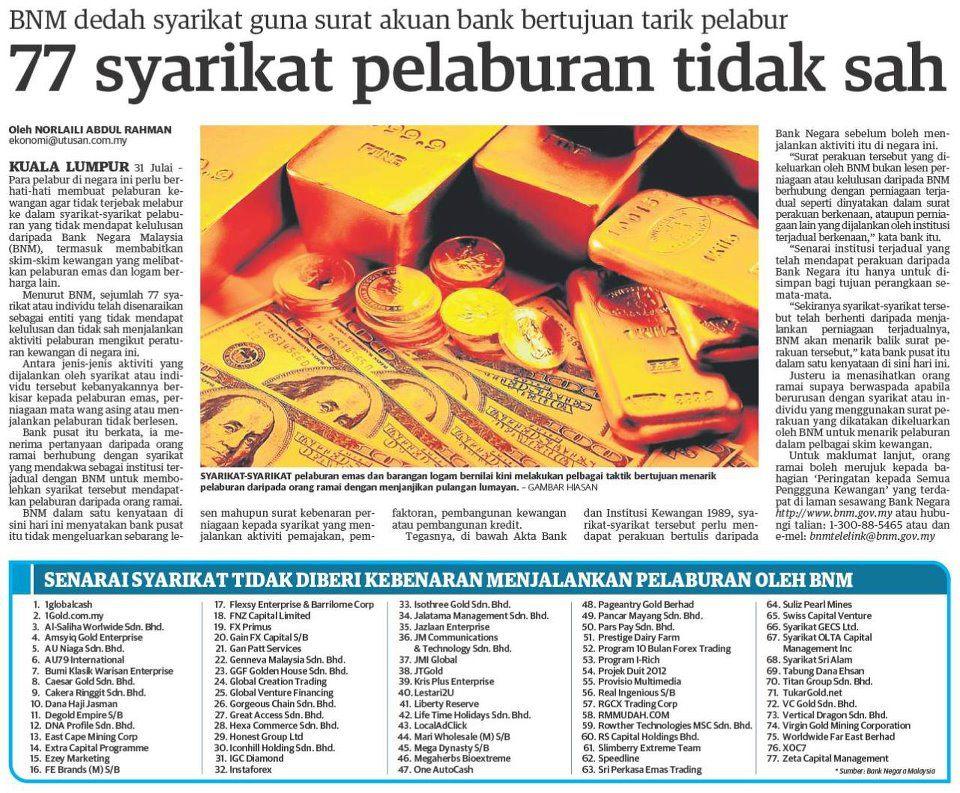77 pelaburan tak sah bank negara bnm