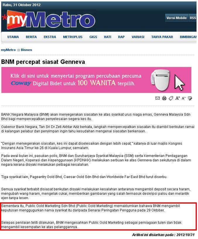 Public Gold Terkeluar Alert List BNM - Harian Metro