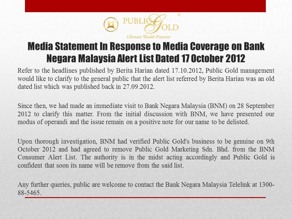 kenyataan balas public gold berita harian bank negara