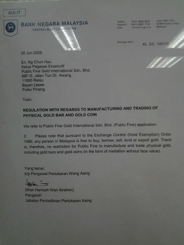 surat bnm kepada public gold