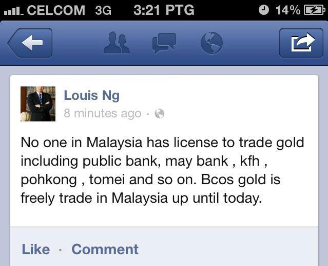 Faceboo Dato Louis Ng Pengasas Public Gold