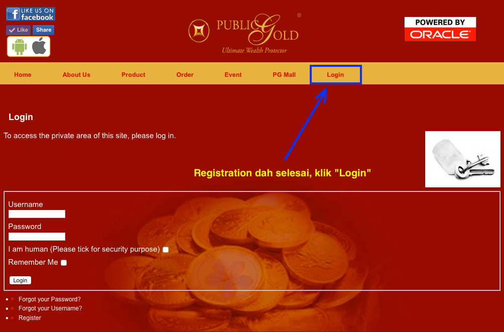 register public gold - registration selesai