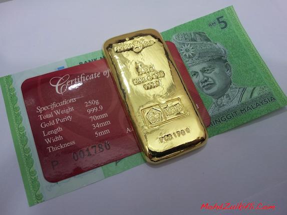 gold bar emas public gold 250 gram susut nilai rendah