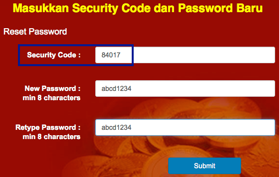 web public gold new password
