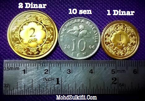 Perbandingan syiling 1 dinar, 2 dinar emas Public Gold dengan syiling 10 sen
