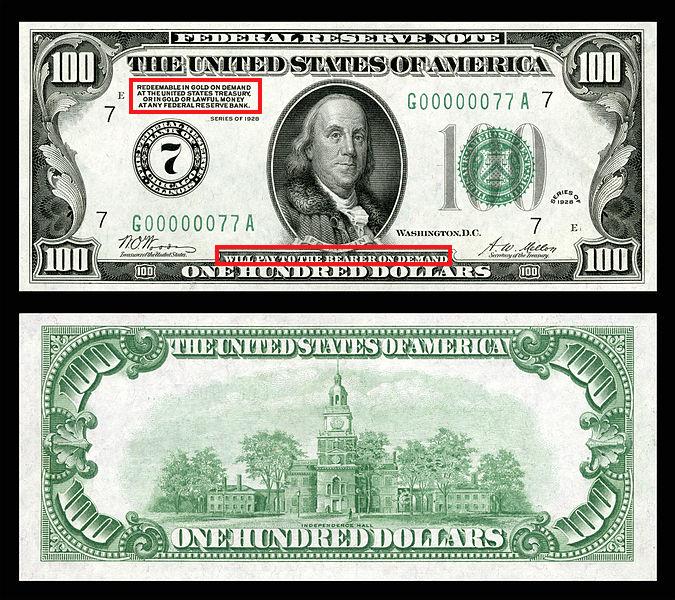 Duit kertas US Dollar emas
