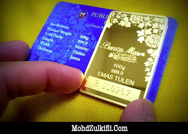 Gold bar a.k.a. jongkong emas Bungamas Public Gold 100 gram