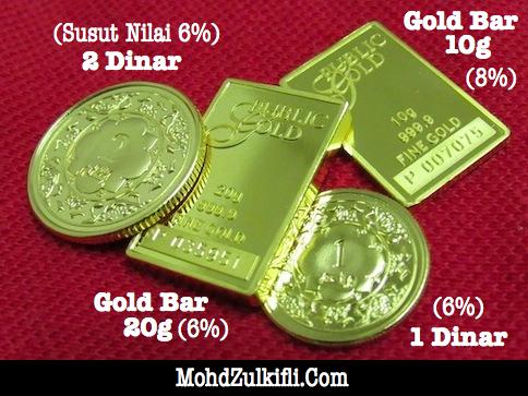 emas public gold 1 dinar, 2 dinar, gold bar 10g dan gold bar 20g Public Gold