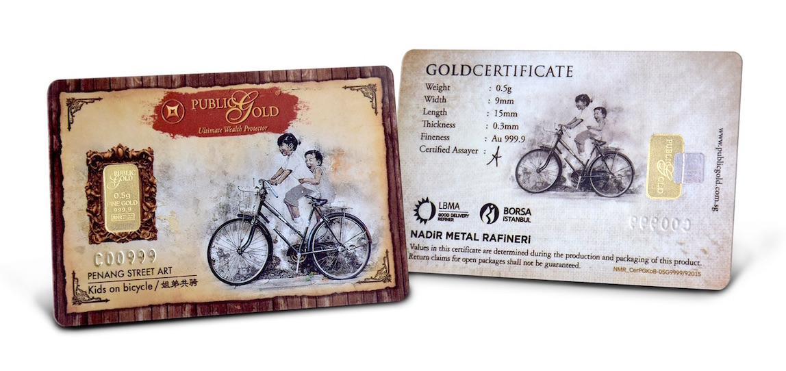 gold bar 0.5 gram bicycle public gold
