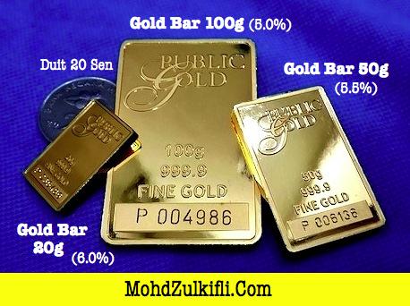 jongkong emas Public Gold 100 gram, 50 gram dan 10 gram