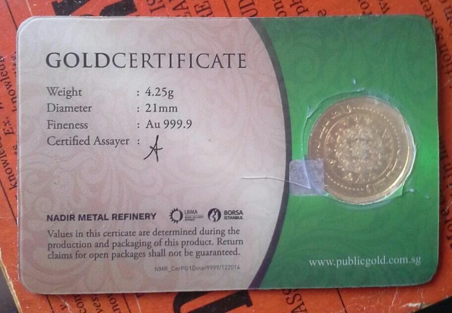 dinar emas public gold 24k buka seal rosak