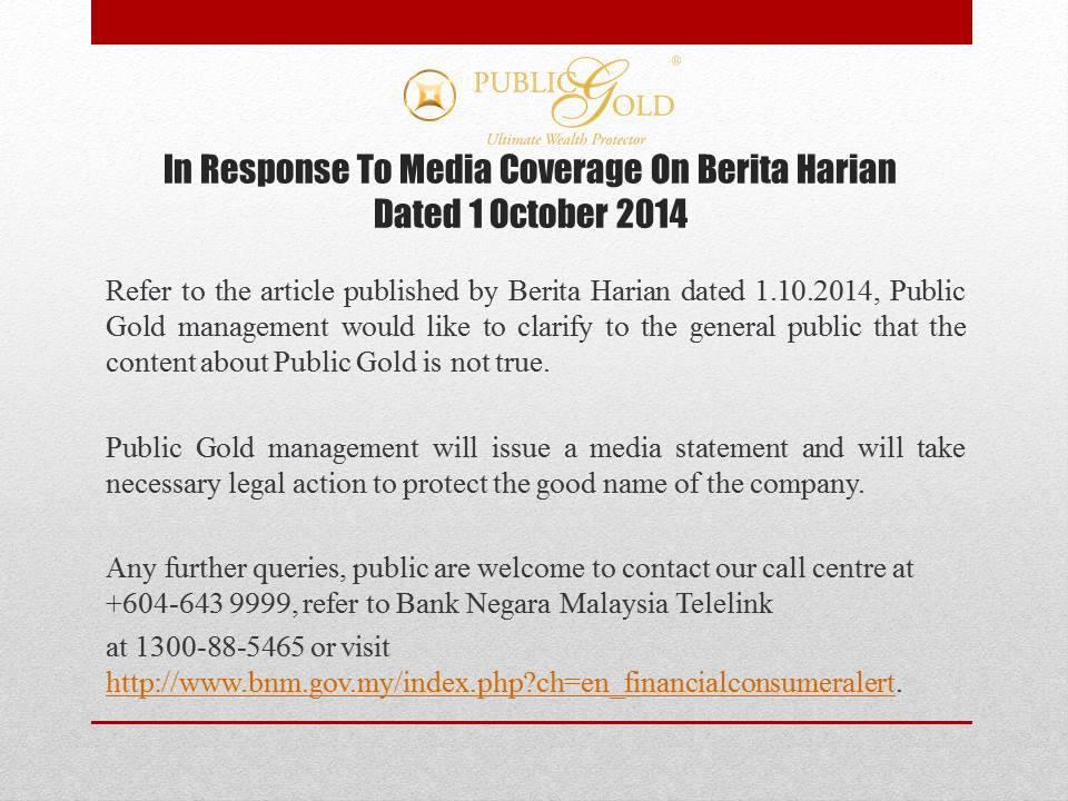 kenyataan balas terhadap media public gold