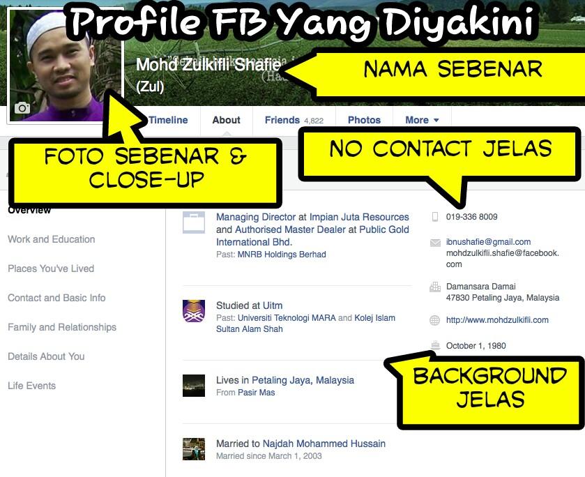 facebook profile diyakini