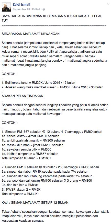 Fb zaidi ismail matlamat kewangan
