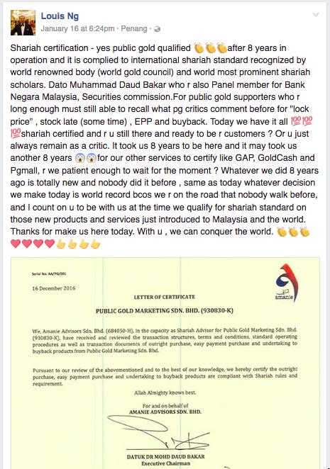 FB 2017-01-19 Dato Louis Ng pengasas founder public gold shariah