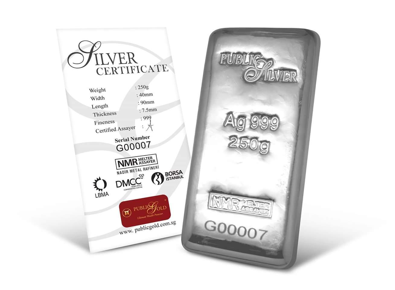 public gold pelaburan silver bar 250 gram