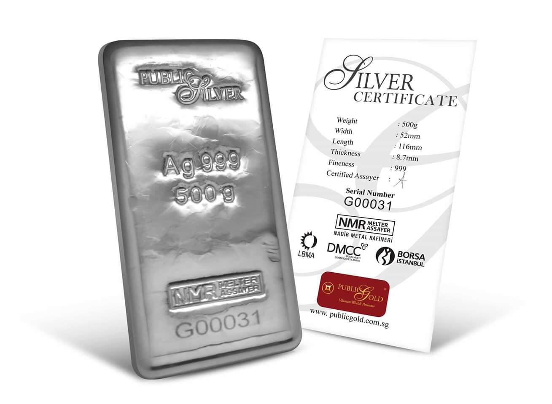 public gold pelaburan silver bar 500 gram