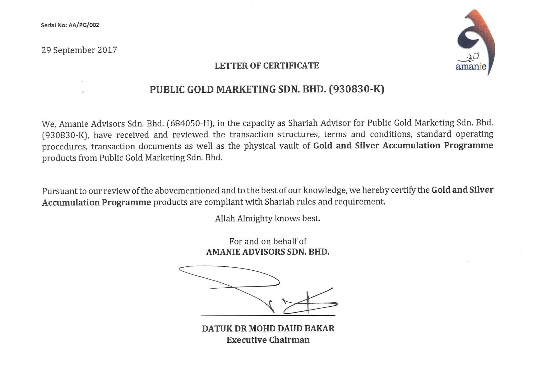 sijil pengesahan patuh syariah oleh panel shariah public gold