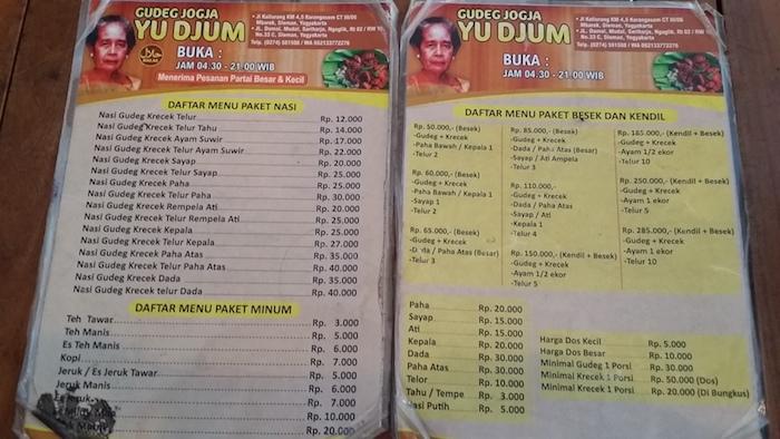 24 menu nasi gudej jogja yu djum