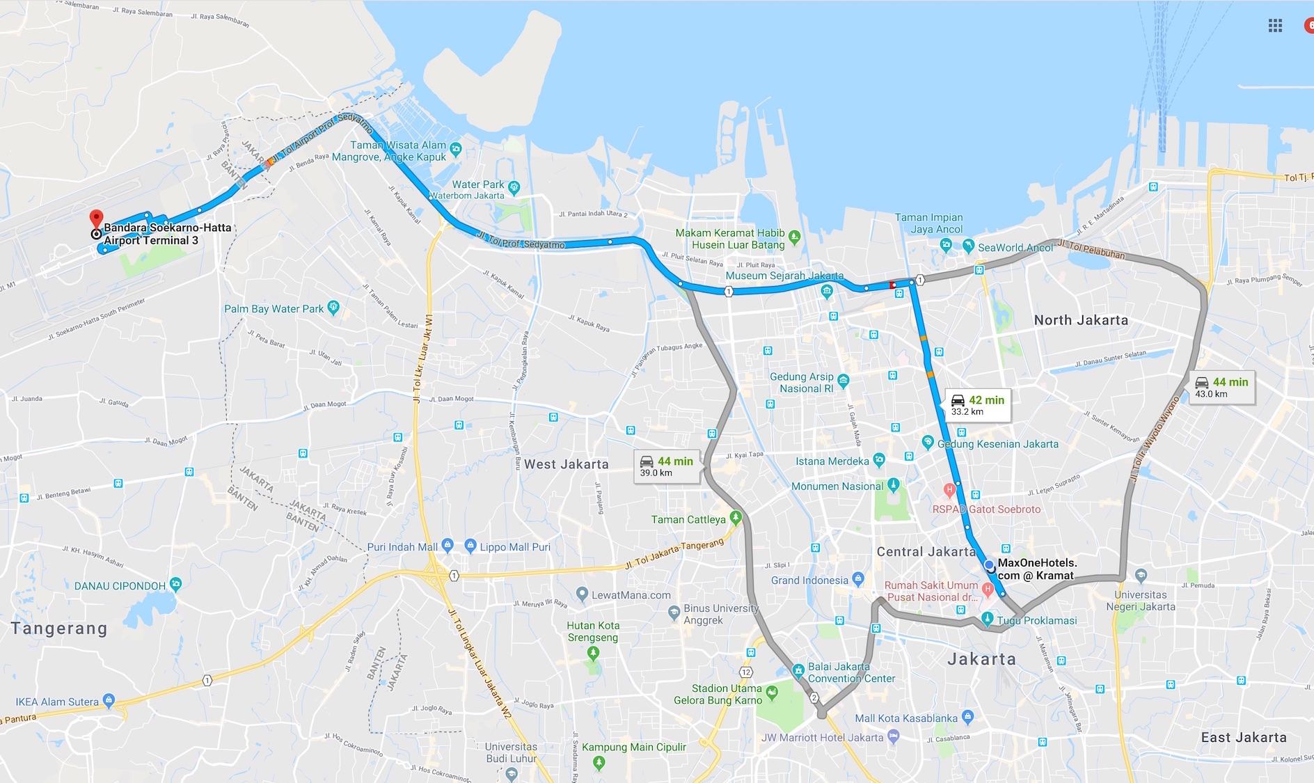 map jakarta airport terminal 3 to maxone hotel kramat