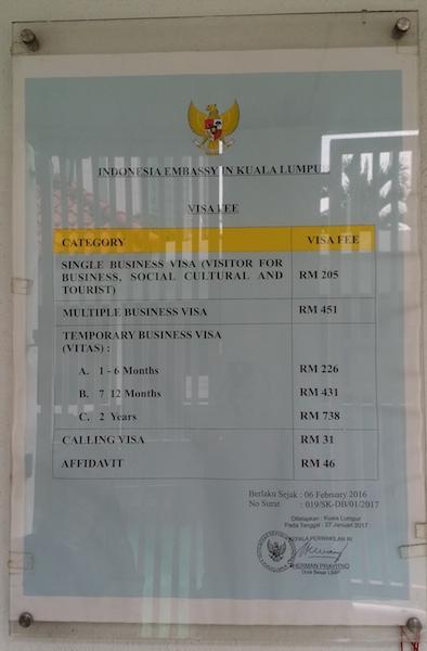 kedutaan besar republik indonesia kuala lumpur 10 visa fee